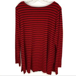 Susan Graver novelty knit long sleeve A line tunic